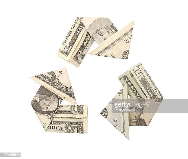 One Five Twenty Dollar Bills Recycle Symbol Arrow Origami