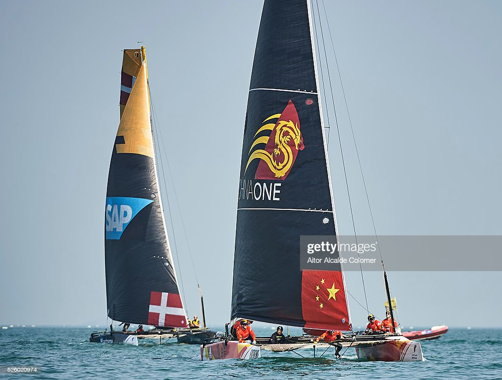 One (CHN) foiling catamaran skippered by Taylor Canfield (ISV) with team mates Chris Steele (NZL), Shane Diviney (IRL), Hayden Goodrick (NZL) and Luke Payne (AUS) racing during the Extreme Sailing Series Qingdao 2016 on April 29, 2016 in Qingdao, China.