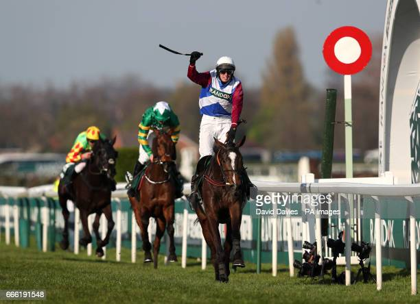 One For Arthur ridden by Derek Fox crosses the line to win the Randox Health Grand National on Grand National Day of the Randox Health Grand National...