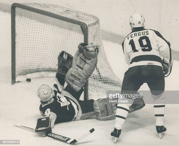 One for the good guys Leafs centre Tom Fergus pulls the home side to within one with a nifty deflection past Penguins goalie Frank Pietrangelo in...