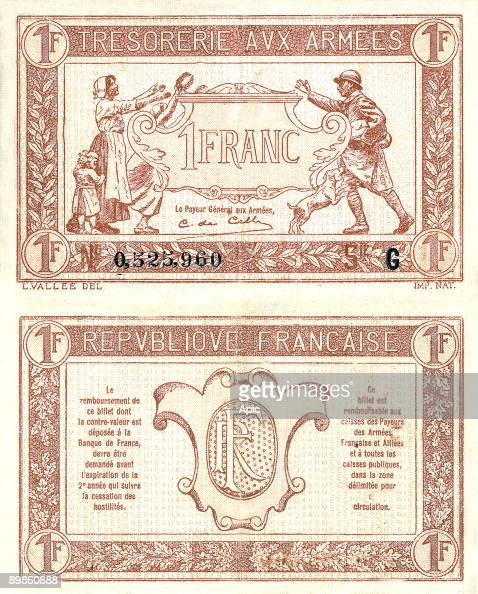 One franc banknote exchange value of the Treasury of the French Army during the great war used by french army to compensate the population from...