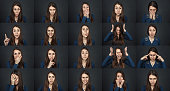 One girl - many faces. Young beautiful girl with facial expressions