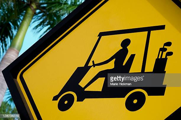 One golf cart crossing sign, photographed in Boca Raton, FL