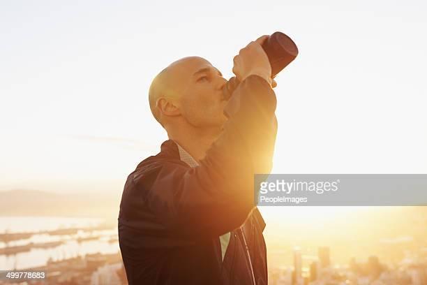 One good gulp before he hits the road