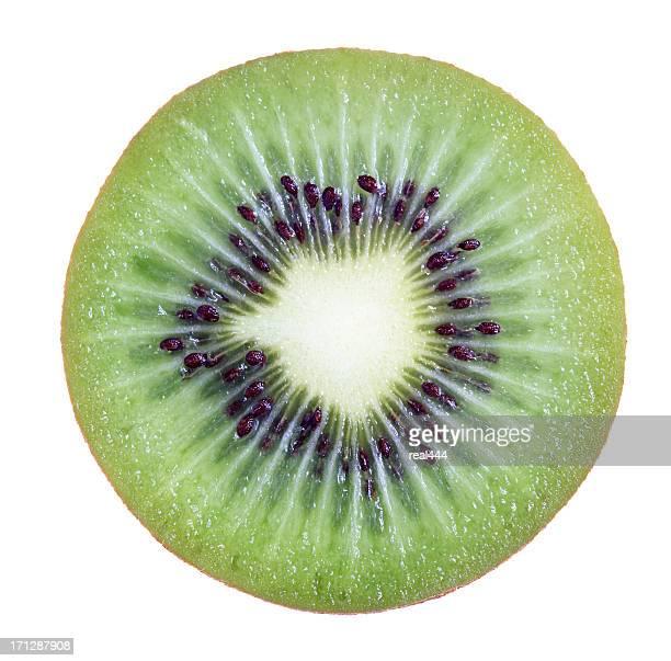 one half of red kiwifruit