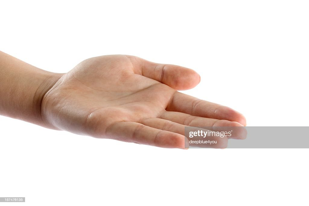 woman open hand isolated