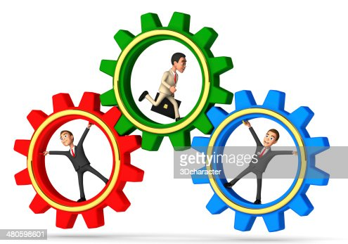 one hardworking businessman and two lazy worker : Stock Photo