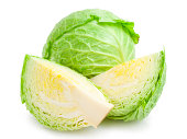 cabbage-head with parts of cabbage isolated on white background