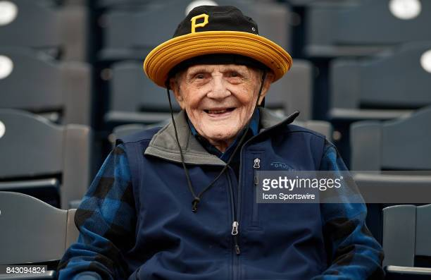 One hundred and five year old Pirates fan Fred Steinkirchner celebrates his birthday today at an MLB game between the Pittsburgh Pirates and the...