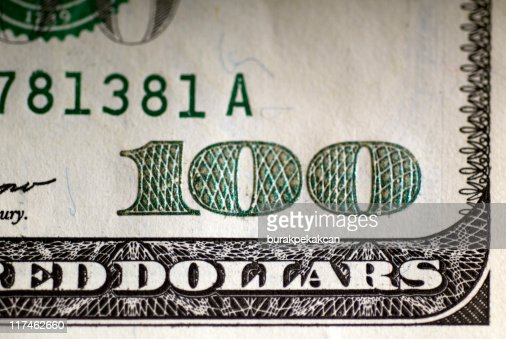 US one hundred dollar bill, close-up : Stock Photo