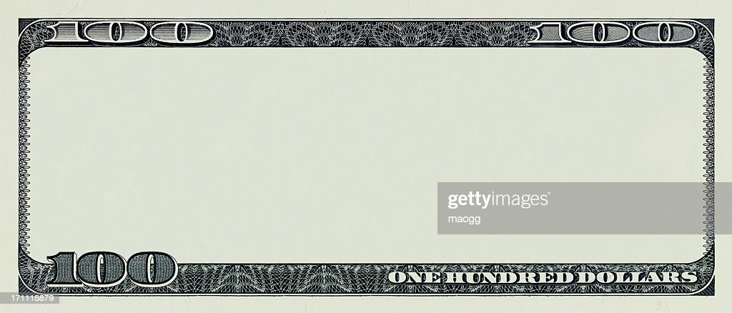 One hundred dollar bill without interior artwork : Stock Photo
