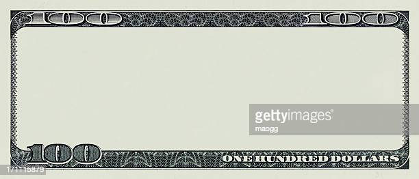 One hundred dollar bill without interior artwork