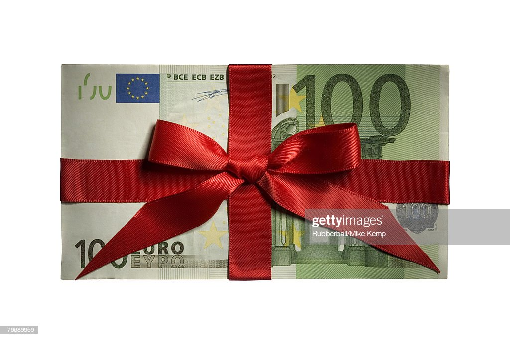 One hundred Euro banknote with red ribbon
