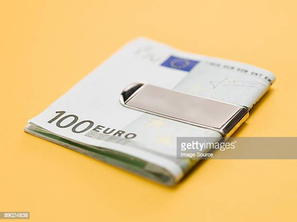 One hundred euro notes in clip