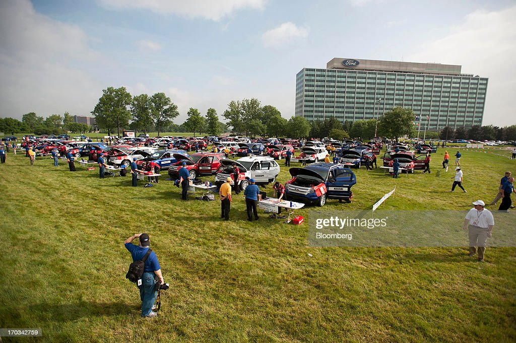 One hundred high school students repair Ford Motor Co. Explorers at the National Finals of the Annual Ford/AAA Student Auto Skills Competition at the Ford World Headquarters in in Dearborn, Michigan, U.S., on Tuesday, June 11, 2013. Job openings in the U.S. fell in April, showing companies were waiting to assess the effects of higher taxes and reduced government spending before committing to bigger staff increases. Photographer: Ty Wright/Bloomberg via Getty Images