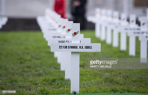 One hundred white crosses with name of some of those lost in the Great War stand in Parliament grounds to commemorate 100 years since the start of...