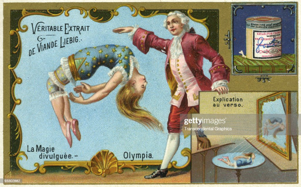 One in a series of advertising trade cards issued by the Liebig food company printed in Paris around 1890 each revealing how magic tricks performed...