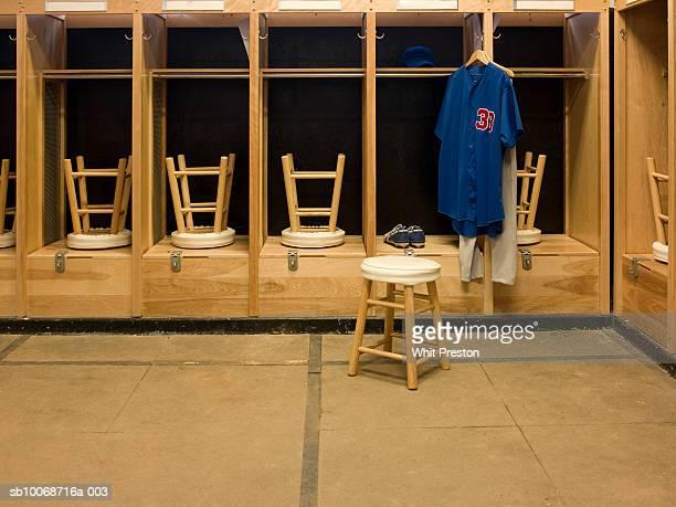 One jersey hanging in locker room