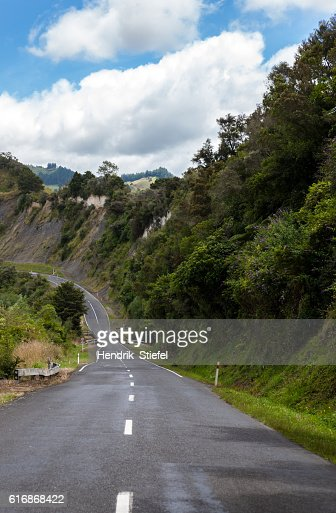 one lane road in new zealand : Stock Photo