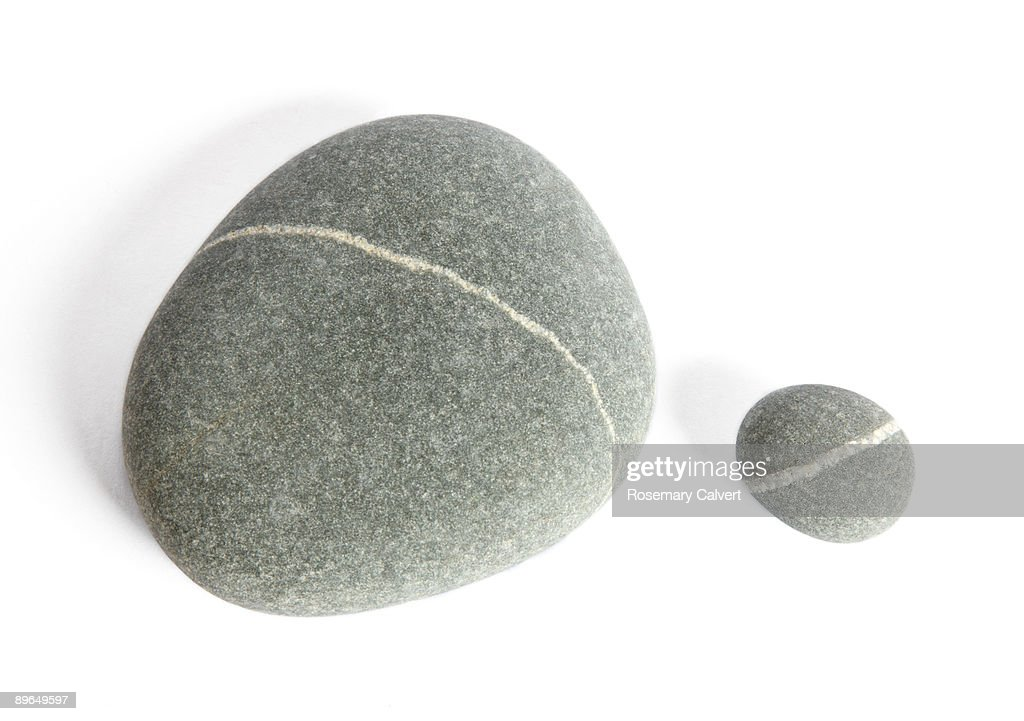 One large and one small granite pebble : Stock Photo