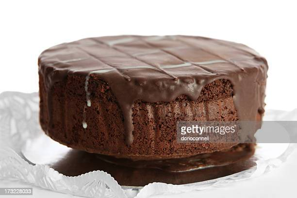 One layer of a chocolate cake with chocolate icing