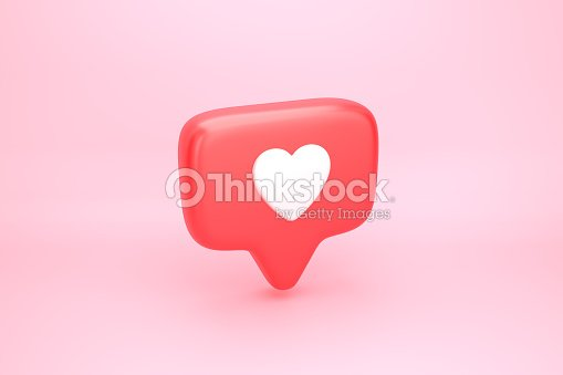 One like social media notification with heart icon : Foto de stock