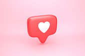 One like social media notification icon with heart symbol. 3D illustration