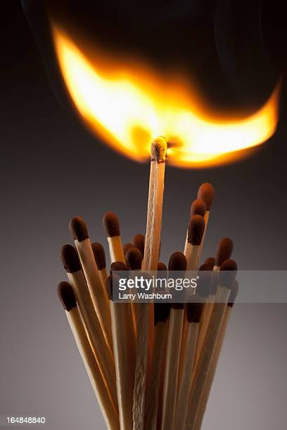 One lit match in a bundle of matches