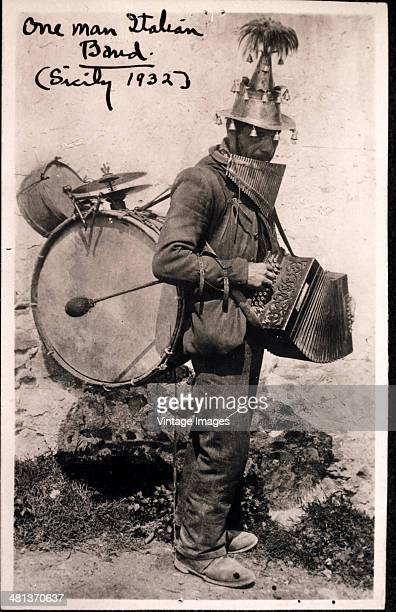 A one man band in Sicily Italy 1932