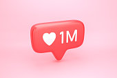 One million likes social media notification icon with heart symbol and number 1M on like counter. 3D illustration