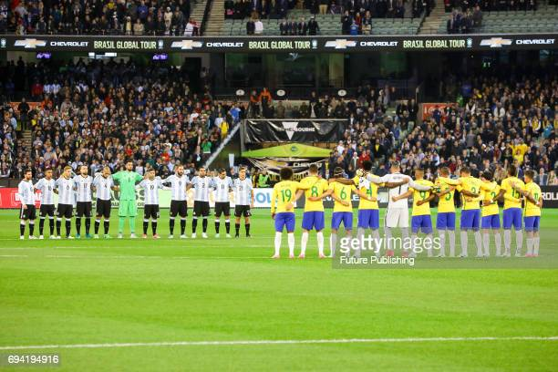One minute silence is observed for recent terrorist attacks before Brazil plays Argentina in the Chevrolet Brasil Global Tour on June 9 2017 in...