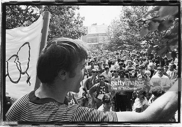 One month after the demonstrations and conflict at the Stonewall Inn activist Marty Robinson speaks to a crowd of approximately 200 people before...