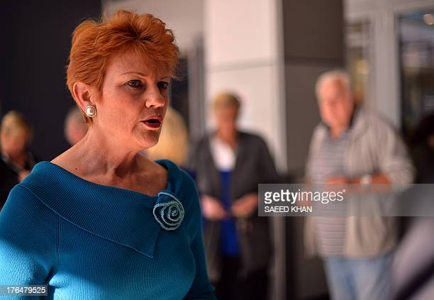 One Nation Party founder and Senate candidate Pauline Hanson is pictured as she campaigns at a shopping arcade in the suburbs of Sydney on August 14...