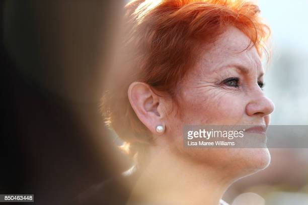 One Nation Senator Pauline Hanson addresses the media during a barbeque in Buderim on September 21 2017 in Sunshine Coast Australia Under the One...