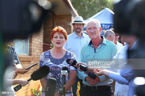 One Nation Senator Pauline Hanson and Queensland party leader Steve Dickson address the media during a barbeque in Buderim to meet local supporters...