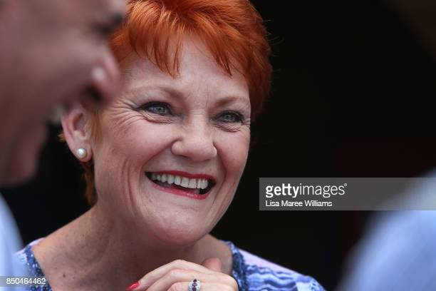 One Nation Senator Pauline Hanson laughs with local supporters during a barbeque in Buderim on September 21 2017 in Sunshine Coast Australia Under...