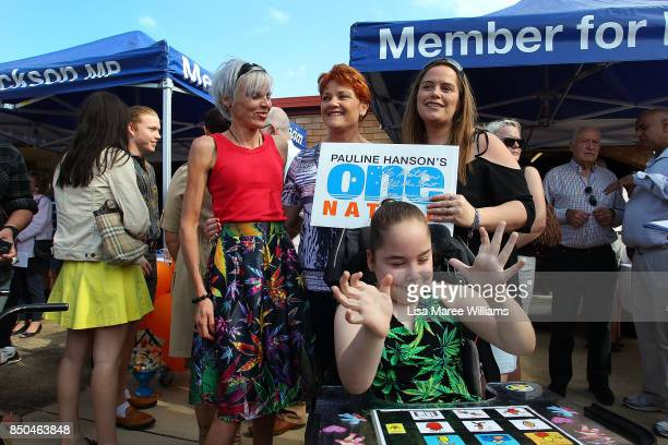 One Nation Senator Pauline Hanson meets Katrina Spraggon and daughter Kaitlyn Spraggon during a barbeque in Buderim on September 21 2017 in Sunshine...