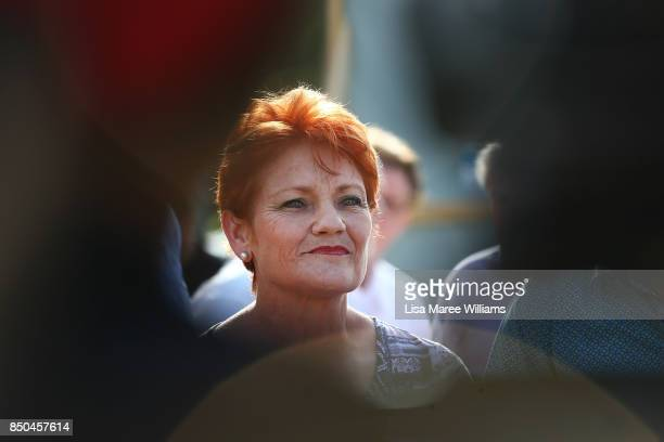One Nation Senator Pauline Hanson speaks to the media during a barbeque in Buderim to meet local supporters on September 21 2017 in Sunshine Coast...