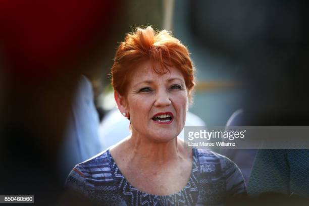 One Nation Senator Pauline Hanson speaks to the media during a barbeque in Buderim on September 21 2017 in Sunshine Coast Australia Under the One...