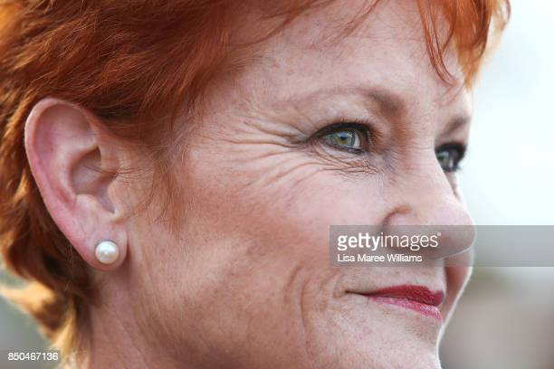 One Nation Senator Pauline Hanson speaks with media during a barbeque in Buderim on September 21 2017 in Sunshine Coast Australia Under the One...