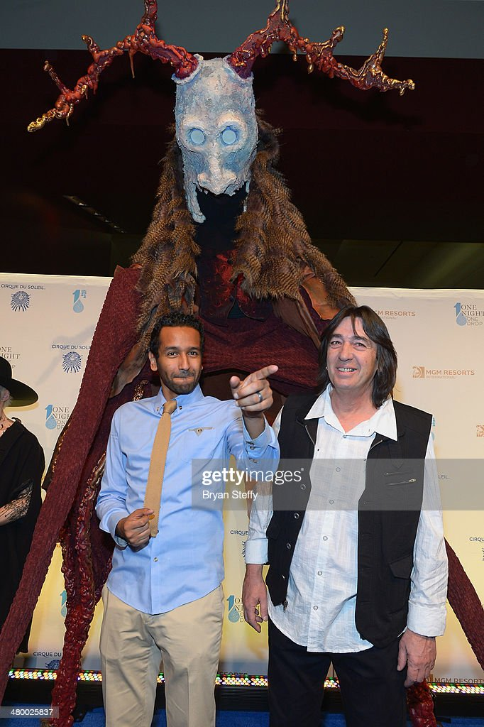 One Night for One Drop creator and director Mukhtar O.S. Mukhtar (L) and artistic development director Loppo Martinez arrive at Cirque du Soleil's 2nd annual 'One Night for One Drop' at Aureole Las Vegas at the Mandalay Bay Resort and Casino on March 21, 2014 in Las Vegas, Nevada.