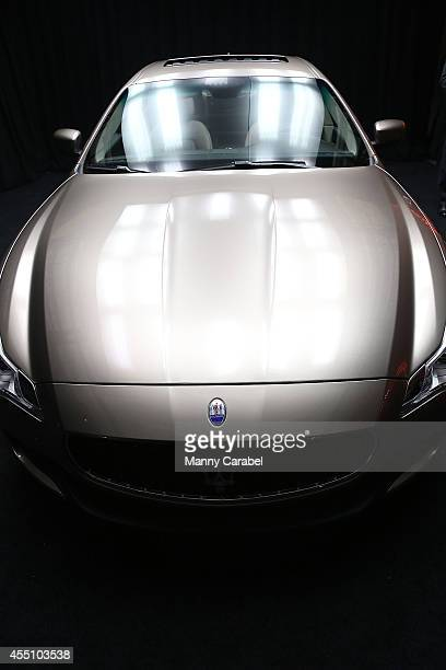 One of 100 Maserati Quattroporte Zegna Limited Edition sits on display at the Maserati and Ermenegildo Zegna Event at Industria Superstudio on...