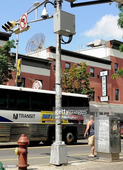 One of 109 newlyinstalled surveillance cameras scan an intersection in the Ironbound section of Newark New Jersey and feeds images back the...