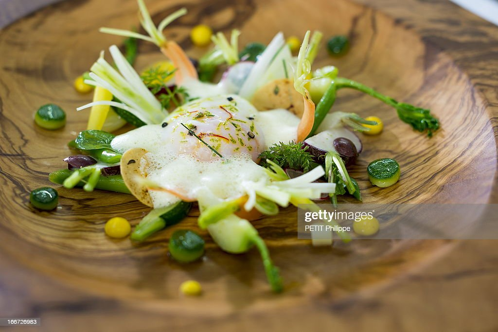 One of Arnaud Donckele's recipes on March 21, 2013 in St Tropez,France. Chef of the restaurant La Vague D'Or in the hotel La Residence de la Pinede who received his 3th etoile from the famous gourmet guide Michelin.