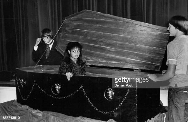 One of Count Dracula's victims arises from her coffin La Tanya Hall is shown sitting in a coffin which was especially built for the Columbine High...