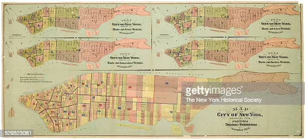 one of four separate photographs showing sections recto and verso/four insets showing Manhattan voting wards and senate districts congressional...
