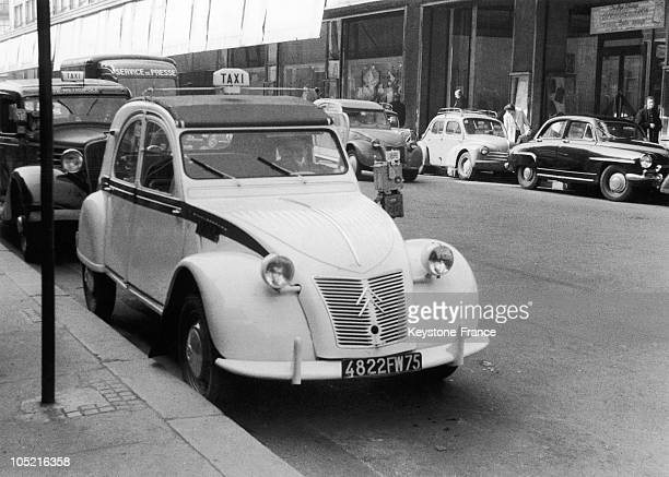 One Of Four Taxi Citroen 2Cv Parked Near The Intersection ReaumurSebastopol In Paris On April 3 1957 The Union Of Taxi Drivers Say That The 2 Cv Does...