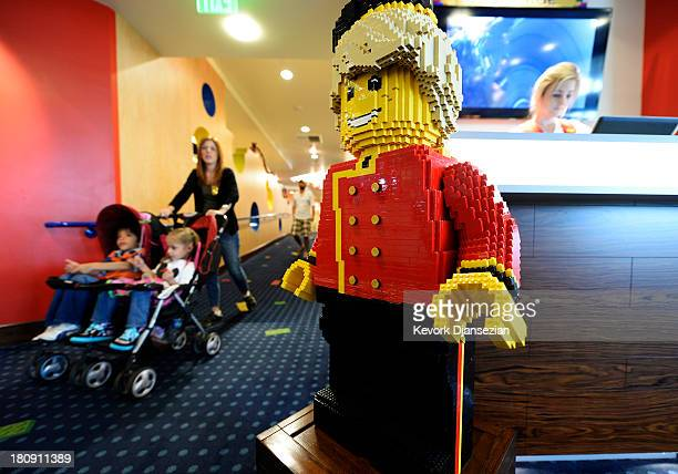 One of hundreds Lego figures is seen next to the concierge desk at North America's first ever Lego Hotel at Legoland on September 17 2013 in Carlsbad...