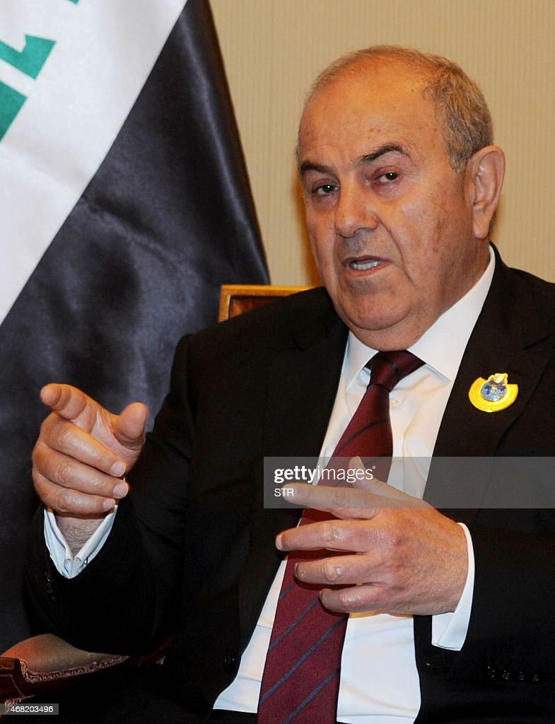 One of Iraq's three Vice Presidents Iyad Allawi speaks during a press conference at Bayan palace in Kuwait City on March 31, 2015, on the sidelines of a UN donors' conference that aims to raise billions of dollars for Syria.