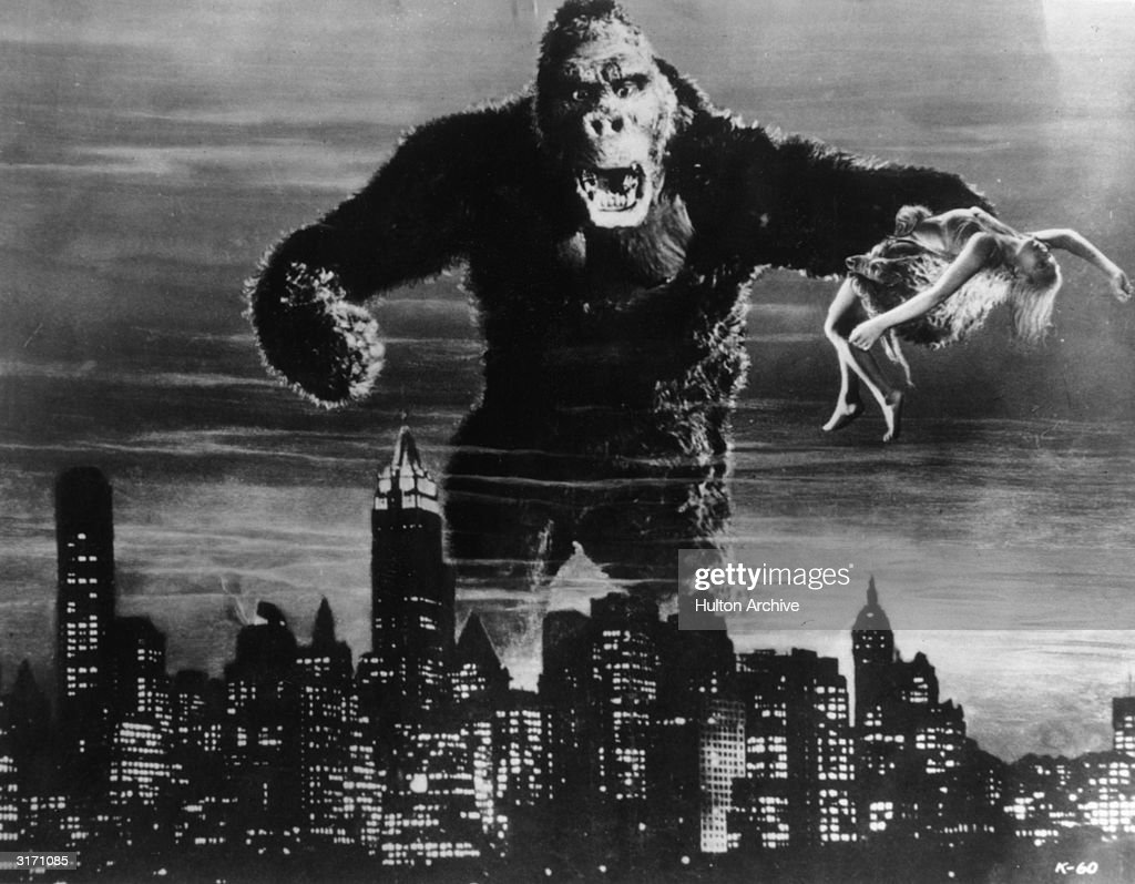 One of John Cerisoli's models of the giant ape, poised above the New York skyline in a scene from the classic monster movie 'King Kong'. In one of his enormous hands is leading lady <a gi-track='captionPersonalityLinkClicked' href=/galleries/search?phrase=Fay+Wray&family=editorial&specificpeople=70009 ng-click='$event.stopPropagation()'>Fay Wray</a>, the film's heroine.